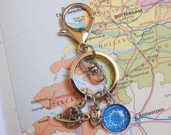 Delfts blauw sleutelhanger  5 keuzes  mandala Made in  Holland collectie