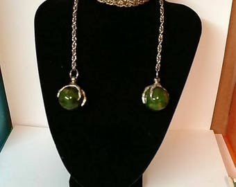 Double Rapture Claws on Green Orbs wrap Type Necklace