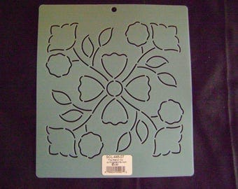 Sashiko Japanese Embroidery or Traditional Quilting Stencil 7 in. Rose of Sharon Motif Block/Quilting