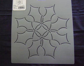 Sashiko Japanese/Traditional Embroidery/Quilting Stencil 8 in. Holly Medallion Block/128