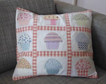 pastel cupcake themed patchwork Cushion cover