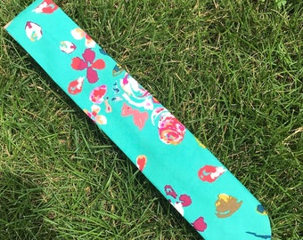 Turquoise Floral Necktie