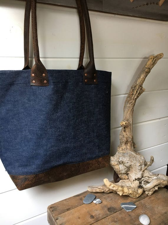 Selvage Denim + Leather Tote