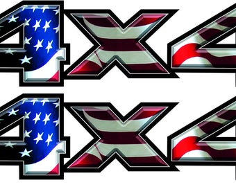 Pair 4x4 American Flag Chevy Dodge Ford Bed Decals Stickers Truck-T-41-2