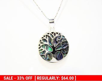 Tree-Of-life pendant, Shell necklace, Sterling silver pendant, Unique Pendant, Paua Shell Pendant, Double Sides Pendant, Judaica pendant