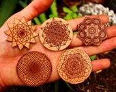 Custom Set of Laser Engraved Wood Stickers (Set of 5)