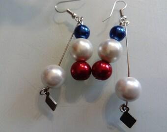 Red white blue beaded earring