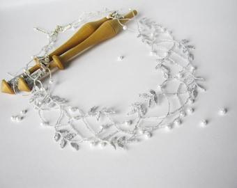 Wedding bobbin lace jewelry set, Bridal lace necklace, Bridal lace earrings, Lace jewelry, Opal, Elegant necklace, Bobbin lace jewelry set