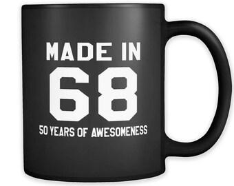 Made in 68 Black Mug, 1968 Mug, 1968 Gift, 50th birthday gift, 50th birthday mug, gift for 50th, 1968 Christmas Gift, Made in 68 Gift #a220