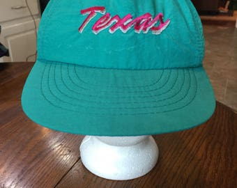 1990's hot pink green Texas hat cap snapback