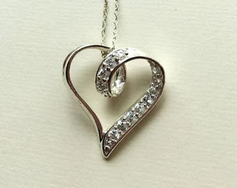 Vintage Silver Heart and Crystal Necklace