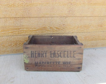 "Vintage ""Henry Lascelle Marinette Wis."" wooden crate"