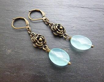 """""""Cute"""" blue/bronze earrings"""