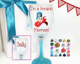 Mermaid gifts for adults, glass mermaids, mermaid with name, mermaid wine glass, mermaid glass, wine glass mermaid, mermaid gift ideas,