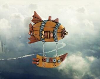 Steampunk Airship Brooch. Steampunk jewelry. Bronze brooch. Mechanical airship. Industrial. Victorian. Vintage design. Dieselpunk. Gears