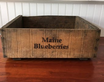 Blueberry Crate Wooden Fruit Crate Blueberry Crate Wood Box Wood Crate Orchard Vintage Crate Wooden Crate  Stock Number 113 Crate Farmhouse