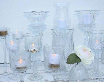 Candle Holders, Set Of 11, Votive Holder, Wedding Centerpiece Decor