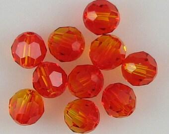 10 6mm Swarovski crystal round 5000 Fireopal beads 52