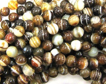 "8mm brown stripe agate round beads 15"" strand 34006"