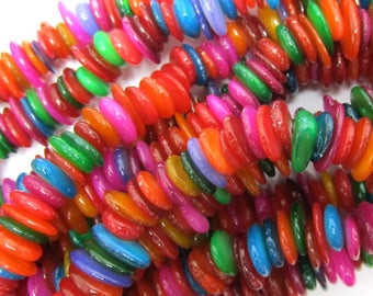 "6-10mm multicolor shell chip beads 32"" strand chips S2 34823"