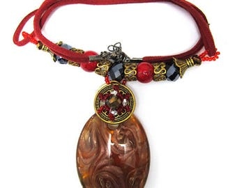 """Brown lampwork glass oval pendant necklace 16"""" 34895"""