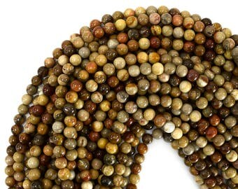 "4mm petrified wood agate round beads 15"" strand S1 39420"