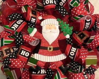 XMAS in JULY SALE-15%off Christmas Wreath, Santa Wreaths, Santa, Christmas wreaths, Christmas decor, santa wreath, mesh christmas wreath, bu