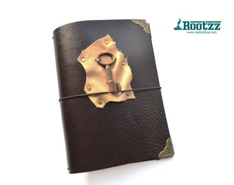 A5 brown travelers notebook with vintage key