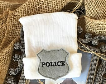 Police badge Hospital hat!   white hospital hat with a police badge for a newborn boy or girl
