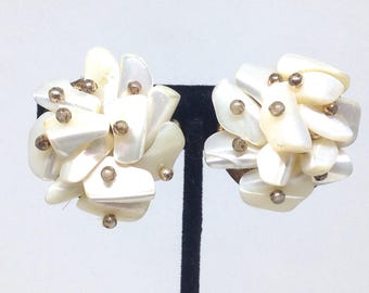 Vintage Estate Signed Japan MOther Of Pearl Flower Clip On Earrings Christmas Present - Holiday Gift