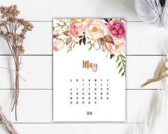 Printable Calendar 2018, Desk Calendar, 2018 Wall Calendar 2018, Watercolor Calendar, 3 sizes A3 A4 A5, Gift For Her, Floral Wall Calendar