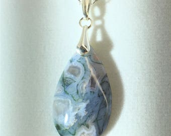 Moss Agate Pendant - Sterling Silver Bail - Free Form - All Natural - Quality     P015
