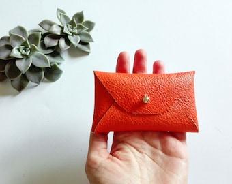 Orange leather card holder / Orange envelope card case / Leather business card case / Genuine leather