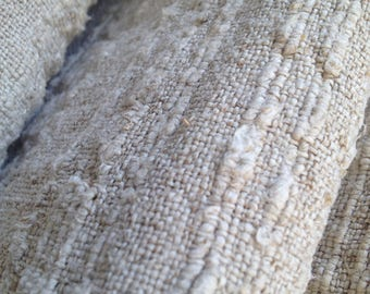 "Antique homespun linen coverlet Farmhouse decor Homestead fabric art Natural hemp bedcover Textured twill cloth Tablecloth 25*150"""