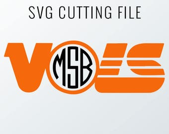 Tennessee Vols Monogram Frame Cutting Files, Svg, Eps, Dxf, Png for Cricut & Silhouette | Go Vols Graphics | Rocky Top Monogram Frame