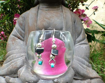 turquoise and hematite earrings