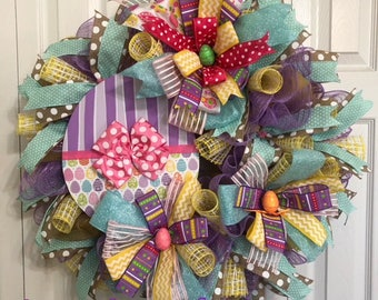 Festive Spring/Easter wreath adorned with large decorative bows