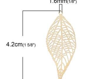 2 pieces large leaf pendant, brass, 4.2cmx 1.8