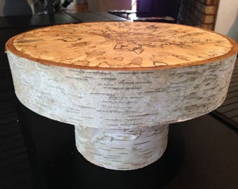 "10""  Wood Cake Stand , Wedding Cake Stand , Birch Cake Stand , Centerpiece"