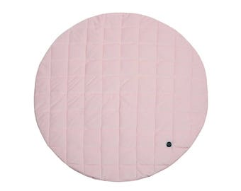 Pink Baby Play Mat / Quilted Play Mat / Padded Play Mat / Round Play Mat / Floor Mat / Baby Rug / Kid's Rug / Floor Rug