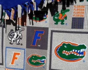 READY TO SHIP Florida Gators Knotted  Fleece Throw With Antipill Backing