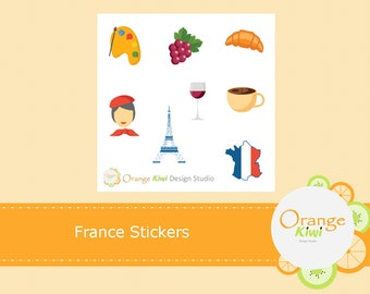 France Stickers, France Sampler Stickers, Planner Stickers, Sampler Stickers, Erin Condren Life Planner, Happy Planner