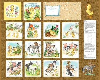FUZZY LITTLE DUCKLING Fabric Panel!  Golden Books! Hard to Find-Out of Print for Quilting or Soft-Cloth Book