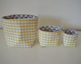 Set of 3 baskets Scandinavian style fabric cotton reversible