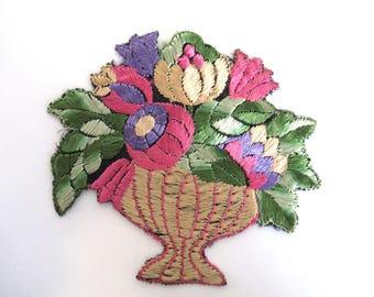 Antique Applique, flower basket applique, 1930s vintage embroidered applique. Sewing supply. #64CGA0K27
