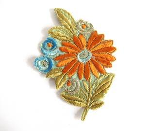 1930s Flower applique, Vintage embroidered applique. Vintage floral patch, sewing supply. #6A8G43KB