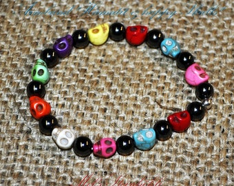 "Bracelet ""Hematite & Happy Skulls"""