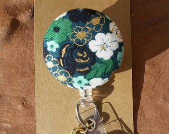 Badge Reel - Badge Reels - Fabric Button Badge Reels - Green Black White and Gold Floral Badge Reel -  Badge Reel with Charms