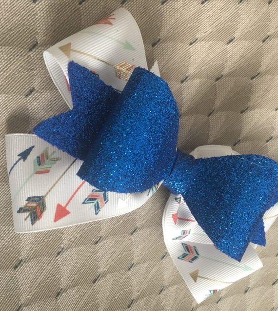 Blue multi arrows hair bow