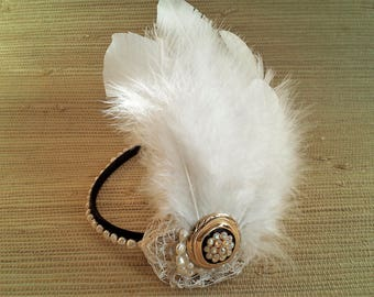 Headband, Headpiece with feathers and vintage jewelry parts